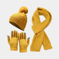 European American new adult hat scarf and gloves three-piece suit Autumn winter outdoor cold warm thick knitted