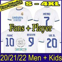 Gerçek Madrid Formalar 21 22 Futbol Futbol Gömlek Alaba Tehlike Sergio Ramos Benzema Asensio Modric Marcelo Camiseta Erkekler + Çocuk Kiti 2021 2022 Üniforma Dördüncü