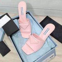 2021 Fabrik Direct Selling Damen Hausschuhe Mode Square Kopf Echtleder Mittelschuhe Hochzeitskleid Designer Straße Show 6,5 cm mit LSH