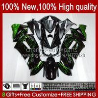 Verkleidungsset für Kawasaki Ninja Green Flames Hot 650r ER 6F ER 6 F ER6F-650R 29HC.19 ER6 F 650 R ER6F 06 07 08 ER-6F 2006 2007 2008 Ganzkörper