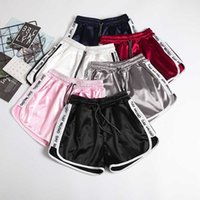 Jogger Letter Striped Sport workout shorts Ladies Lace up Womens Elastic Waist Shorts Summer Patchwork Gym Athletic Loose Shorts 210611