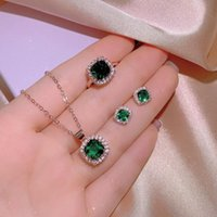 Earrings & Necklace Ajojewel Princess Zircon Green Jewelry Sets For Women Bling Square Stone Ring Pendant Wholesale Bijoux Gift