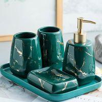 Conjunto acessório de banho Banheiro de cerâmica nórdico Conjunto de vaso sanitário, série de padrão de mármore de luxo, sala de decoração de sala de banho bandeja de dispensador