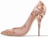 Designer nupcial saltos altos sapatos 10 cm moda cor-de-rosa mulheres eden flor de metal bombas sapatos para casamento festa de noite sapatos de baile branco preto champanhe prata vermelho