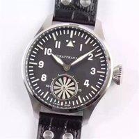 Luxe horloge roestvrij staal 46mm V6 lederen band Sapphire Scratch Proof Mirror Automatische mechanische beweging