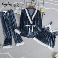 Women's Sleepwear Velour Woman Home Wear Pajamas 3PC Strap Top Pants Suit Sets Nightdress Nightgown Sexy Kimono Sleep Robe Bath Gown Sleepwe