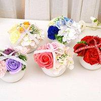Flores decorativas grinaldas peônia artifcial flor de seda casamento buquê decoração branco exposição em casa pacote falso coração rosa cor-de-rosa rosa