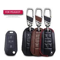 Peugeot 3008 208 308 RCZ 508 408 2008 407 307 4008保護キーシェルスキンバッグのみのケースのための革の車のキーケースカバー
