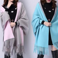 Autumn winter shawls for women fashion double side colors lady girl scarf warm wraps