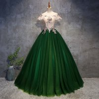 Robe de robe de boule de luxe verte Plus Taille Sexy Pal De Mariage Fête De Mariage Dress Off Epaule Broderie Vestidos de Robernes 9J8C
