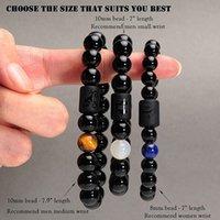 10mm naturlig svart aagte pärla zodiac armband för män kvinnor negativ energi amulett