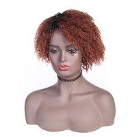 Короткие парики для женщин для женщин человеческие волосы Оммре цветные вьющиеся девственницы человеческие волосы парик афро кудри индийский парик с челкой боб парик