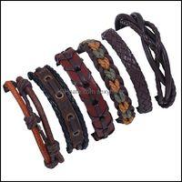 Cuff Bracelets Jewelrymens Vintage Braided Diy Six-Piece Combination Mti-Layer Leather Bracelet Jewelry Drop Delivery 2021 3Arhz