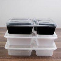 150 teile / los Kunststoff wiederverwendbare Bento-Box-Mahlzeit-Speicher-Lebensmittel-Prep-Lunchbox 3-Fach wiederverwendbar Mikrowellige Container Home DWD9271