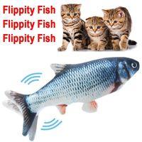 Lançando peixes gato brinquedo realista plush elétrico lançando boneca engraçada Animais de estimação interativos engraçados mastigam o brinquedo do disquete perfeito para o exercício do gatinho CY07