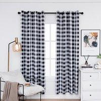 Plaid Blackout-Vorhänge für Schlafzimmer-Wärmedämmplatten Karierte Fenstervorhänge für Wohnzimmer schwarz und weiß