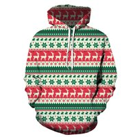 Men's Pattern 3D Printing Hoodie Party Fashion Tops Christmas Round Neck High Quality Street American Sweater Four Seasons NO46