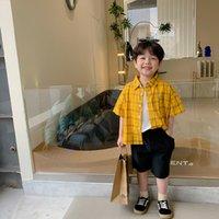 Boys fashion summer plaid shirts Children cotton short sleeve loose cool shirt 210508