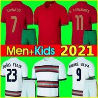 Ronaldo Soccer Jersey Bruno 2020 2021 Fernandes André Silva Joao Felix Pepe Football Shirt 20 21 فريق وطني للرجال + أطفال مجموعات طقم موحدة