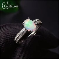 Küme Yüzük Colife Takı 100% Doğal Beyaz Opal Yüzük Giyim için 6mm * 8mm Gümüş Moda Taş