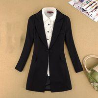 Women's Suits & Blazers Women Office Lady Style Single Button Casual Blazer Mujer Jackets Feminino Longo Plus Size Womens Clothing Chaqueta