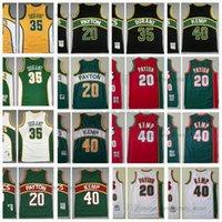 Mitchell 및 Ness Black 1995-96 농구 유니폼 레트로 Gary20Payton Shaw40kemp Kevin35durant 저지 스티치 화이트 레드 그린 1997-98 옐로우 2007-08