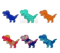 Rainbow Tint Dinosaur Shaped Party Fidget Toy Push Foam Board Finger Game Sensory Simple Dimple Stress Relief Puzzle Silicone Game