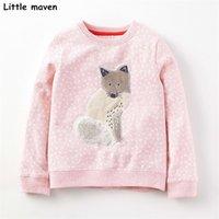 Kleine Maven Kinder Marke Baby Mädchen Kleidung Herbst Neue Design Mädchen Baumwolle Tops Rosa Fuchs Grau Druck T-shirt 210306