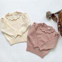 Nouveaux enfants filles manches longues tricotées pull en dentelle automne hiver bébé vêtements girls pulls pulls 1-7yrs 210302