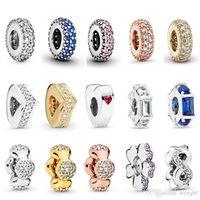 Real 925 Sterling Silver Multi Styles Coração Clear CZ Spacer Charm Beads Fit Pandora Charms Original Charms Pulseira Bangle Jóias Casamento Anniversary Presente