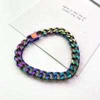 Link, Chain Titanium Steel Multicolor Cuba Bracelet Hip Hop Rock Singer Hand Cuff Wrist Fashion Jewelry Fine Accessories Ornament