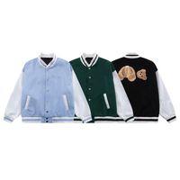 Chaquetas de invierno Diseñador PLAM Jacket Embrodiery Bear Varsity Béisbol Uniforme de Béisbol Osos Emodificados Manga Larga Outwear Abrigo Empalme Abrigos Impresión Cálida Capucha