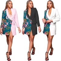 Women's Suits & Blazers Office Lady Lapel Deep V Long Sleeve Print Contrast Shrug Blazer Feminino Suit Coat