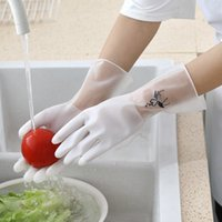 Gloves Laundry, Bowl Washing and Household Cleaning Latex Non Slip, Durable Comfortable Single Leather Plastic Waterproof Dishwashing