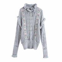 Женские свитера Puwd повседневная женщина вышивка вышивка свитер 2021 мода дамы осень мягкая изделка шеи трикотаж женский элегантный вязаный т