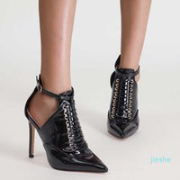 fashion-Women Patent Leather Ankle Boots Designer Lace Up High Heels Ladies Pointed Toe Stilettos Autumn Black Shoes