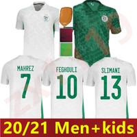 20 21 Algerie Maillot de futebol camisas 2020 2021 Jerseys de futebol Home Mahrez Brahimi Bennacer 2 estrelas Argélia Homens Kit Kit uniformes Tha