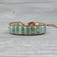 Tennis Green Colored Natural Stones Women Bracelets Real Leather Cord Cuff Bangles For Girls Birthday Gift Handmade Jewelry Tube Stone