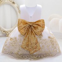 Girl's Dresses 2021 Flower White Baptism 1st Birthday Dress For Baby Girl Clothing Bow Wedding Princess Lace Party Tutu 1-5 Year