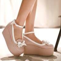Dress Shoes Women High Heels Mary Jane Platform Pumps Ankle Strap Buckle Bowknot Wedge Sandals 2022