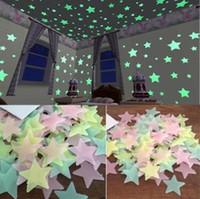 3D estrellas resplandor en las etiquetas de la pared oscura Etiquetas engomadas fluorescentes luminosas para niños Habitación bebé Dormitorio Decoración del hogar 1bag / 100pcs YL465