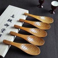 Patrón de peces Cuchara de madera tallada Cucharas de arroz de madera maciza ecológica Sopa duradera Pastel de té Scoop Cocina Cocina Restaurante Vajilla GWB10094
