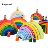 Grande tamanho arco-íris empilhador de madeira bloco edifício brinquedos para crianças montessori educacional esclareamento trem