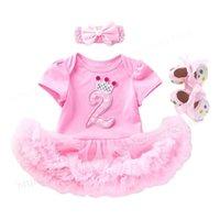 Mädchen Kleider Kleinkind Kinder Baby Mädchen 2 Jahre Geburtstagskleidung Mädchen Taufe Boutique Kleidung Set mit Stirnband Schuhe