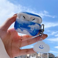 For Apple Airpods Pro Case 3D Cartoon Luxury Blue Sky White Cloud Design Protective Cover for Airpod 1 2 Wireless Headset Cases with Keychain