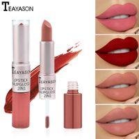 Teyason Lip Gloss 2-em-1 cabeça dupla de longa duração fosca fascinação de feijão cor lipgloss batom líquido tonalidade maquiagem lips forro