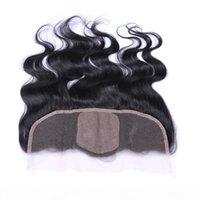 13 * 4 дюймового уха на ухо шелкового базового кружева лобное закрытие волна тела 8А бразильские перуанские индийские малазийские девственницы человеческие волосы с волосами