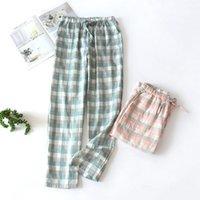Women's Sleepwear Loose Women Plaid Cotton Lounge Wear Sexy Lingerie Pajama Pants Summer Ladies Sleep Bottoms Casual Thin Pyjama