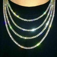 Iced Out Tennis Chain Real Zirconia Stones Silver Single Row Men Women 3mm 4mm 5mm Diamonds Necklace Jewelry Gift For Theme Party