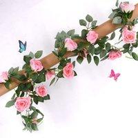 웨딩 장식에 대 한 인공 꽃 포도 나무 가짜 실크 로즈 아이비 꽃 인공 포도 나무 매달려 갈 랜드 장식